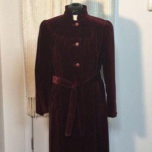 Burgundy plush velvet evening coat.